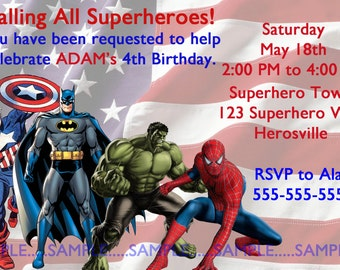 Superheroes Invitation, Justice League--Birthday Party--Customize---DIGITAL ONLY