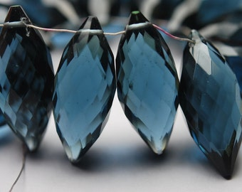 New Arrival,5 Pcs,Superb-Finest Quality,London Blue Quartz Faceted Onion Shape Briolettes,15mm size,