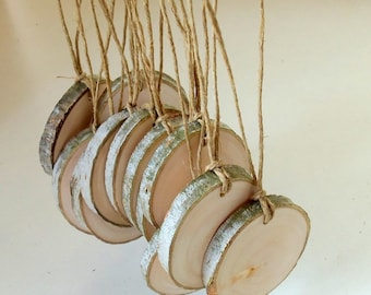 12 Blank White Tree Branch tags - Wood Slices - Tree Slices - Wedding Decor - Shop Tags -.2  inches in diam.