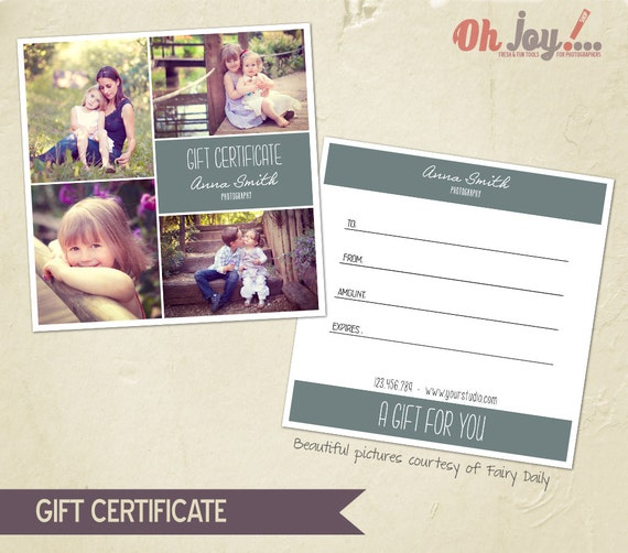 Instant download photography gift certificate photoshop for Gift certificate template photoshop