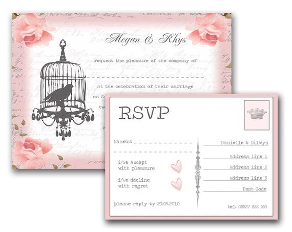 Wedding Invitations Birdcage: Items Similar To Vintage Birdcage Wedding Invitation And