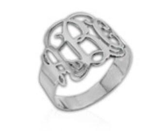 Monogrammed Sterling Silver Rings