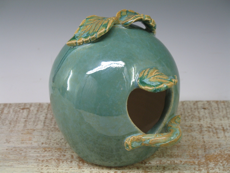 Whimsical BirdHouse / feeder handmade ceramic by Heidishoppe