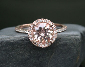 Morganite Engagement Ring Rose Gold Morganite Ring in 14k Rose Gold with Diamond Halo and Morganite Round 8mm
