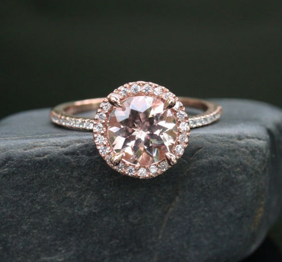 Morganite Engagement Ring Rose Gold Morganite Ring In 14k Rose