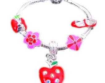 Childrens Charm Bracelet Fruity Red & Pink Sparkle