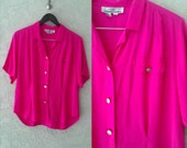 SALE Vintage 1980s Hot Pink Button Up Blouse / Large XLarge