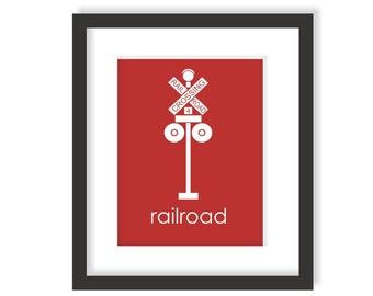 Railroad Crossing Sign Art, Train Nursery, Transportation Nursery, Railroad Decor, Locomotive, Kids Wall Art, Train Crossing, Boys room art