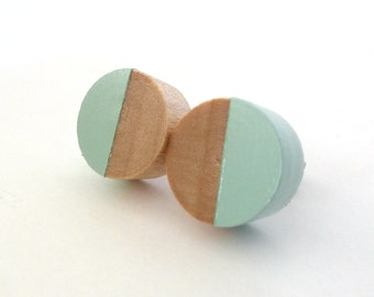 Mint green wood earrings, wood stud earrings, light green earrings, pastel earrings, dipped wood earrings, minimalist earrings