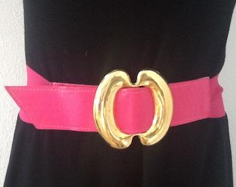Vintage Wide Pink Elastic with Gold Trim Belt