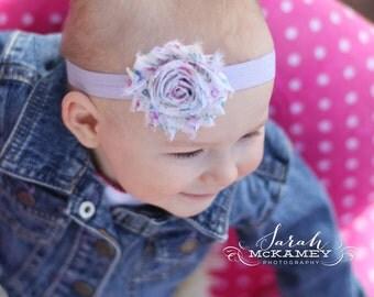 Cream/Purple Floral Headband..Newborn Headband..Baby Girl Headband..Headband..Infant Headband..Baby Headband..Rosette Flower Headband