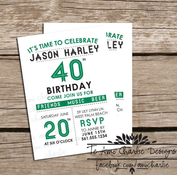 Adult Birthday Invitations - 40th Birthday Invitations - 30th Birthday ...