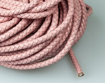 6mm Braided Leather Cord, Light Pink Genuine Leather Cord, Round Leather Cord, Pkg of 1 meter, D0FB.LP56.L1M