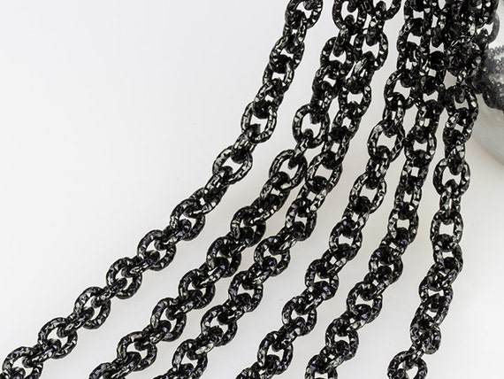 Black Chain Anodized Aluminum Chain Carved Texture Chain