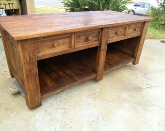 Kitchen island/Store counter table.  Reclaimed old wood.  USA made.