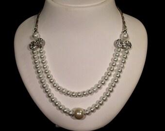 Wedding Pearl Necklace,  Pearl Necklace, Swarovski Pearls, Rhinestone, Ivory, Handmade, Wedding Jewelry, Bridal Jewelry
