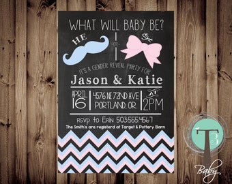 Chalkboard Gender Reveal Party Invitation, Mustache Gender Reveal, Bows, Mustache, 1061
