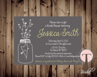 Mason Jar Invitation, Bridal Shower Invitation, Wedding Shower, Mason Jars, Chalkboard, invite, Invitation