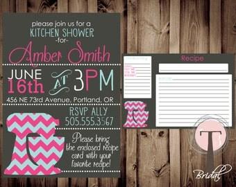 Kitchen Shower Invitation and Recipe Card, Kitchen shower, bridal shower, wedding showering, invitation, invite, recipe card, 1065