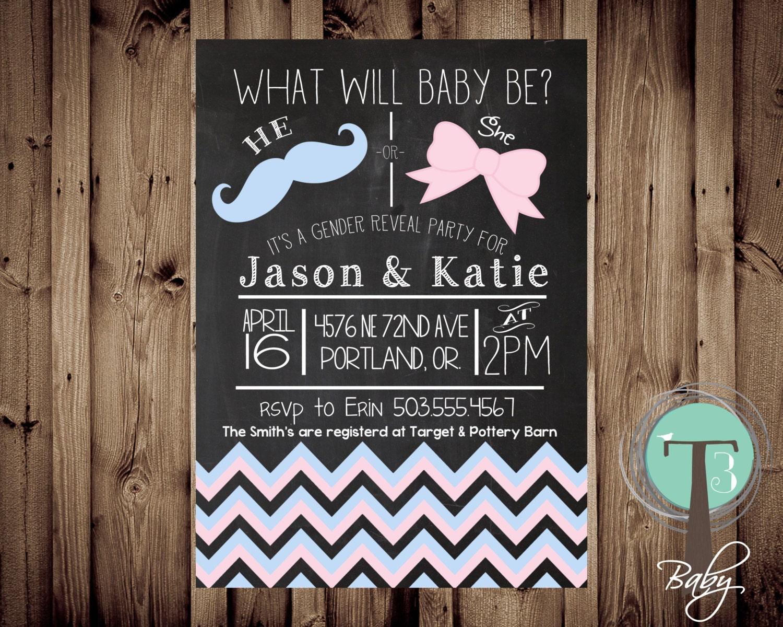 chalkboard gender reveal party invitation mustache gender