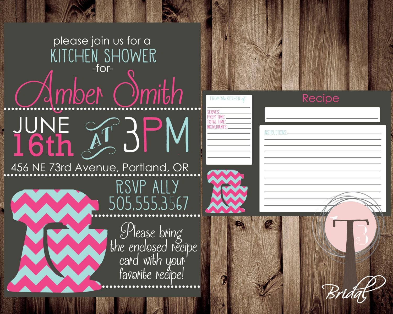Kitchen Bridal Shower Kitchen Shower Invitation And Recipe Card Kitchen Shower