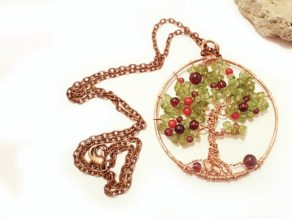 RESERVED for Katya__Tree of Life Pendant Copper Wire Wrapped Peridot Garnet Coral Pendent Israeli Gemstone Jewelry