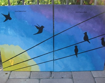 """Birds on a Wire """"Aves at Dawn"""" Original Acrylic Painting"""