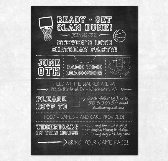 Items similar to Basketball Party Invitation - Printable - Chalkboard, Birthday Party, March ...