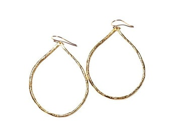 Textured Gold Teardrop Earrings, Gold Earring, Hoops