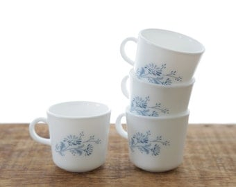 CorningWare Ceramic Blue & White Wildflower Mugs - Set of 4