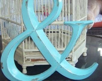 Ampersand Symbol-Distressed Robin Blue-Wedding Decoration