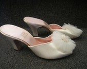 """Vintage Pair of White Satin Peep Toe Mules  with Tulle Detail, Daniel Green, """"Comfy"""",  New Old Stock, ca 1950s"""