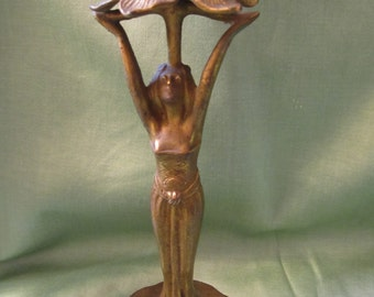 Art Nouveau Figural Gold-Washed Bronze Candle Holder, ca 1905