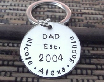 Dad Key Chain- Personalized Dad Key Chain- Hand Stamped Father Key Chain- Father's Day Gift- Gift For Dad