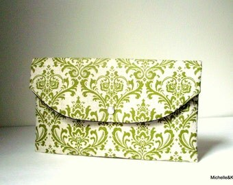 Green Olive Damask Clutch/linen clutch/Gift idea/Bridesmaid gift