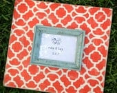 5x7 moroccan tangerine on heirloom white with robins egg trim distressed frame - rubyandlucyframes