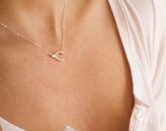 Sideways Wishbone Necklace,  Silver Wishbone Necklace, Sterling Silver necklace FREE SHIPPING