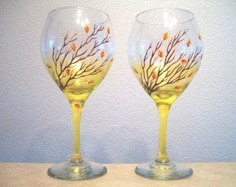 Fall Wine Glass, Set of 2, Hand Painted Goblet