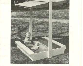 Vintage Craft Pattern by A. Neely Hall No. 807 - Children's Outdoor Wooden Sandbox with Canopy - Build it Yourself - Woodbuilding - 1975