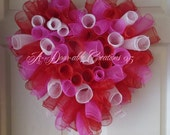 Candy Hearts Inspired..Spiral Deco Mesh Wreath...BE MY VALENTINE