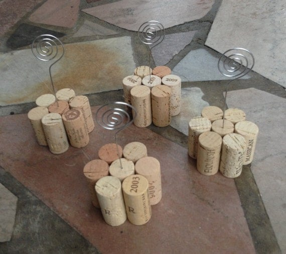Set of 4 Wine Cork Table Number Holders Great for Weddings