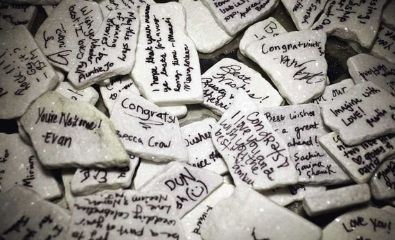 White Slate Wishing Rocks - Alternative Guest Book - 50 pcs - Wedding - Bridal - Shower - Baby