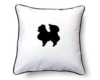 Pomeranian Pillow 18x18 - Pomeranian Silhouette Pillow - Personalized Name or Text Optional