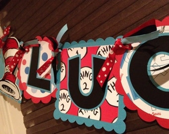 Thing 1 & Thing 2 Inspired Birthday Banner