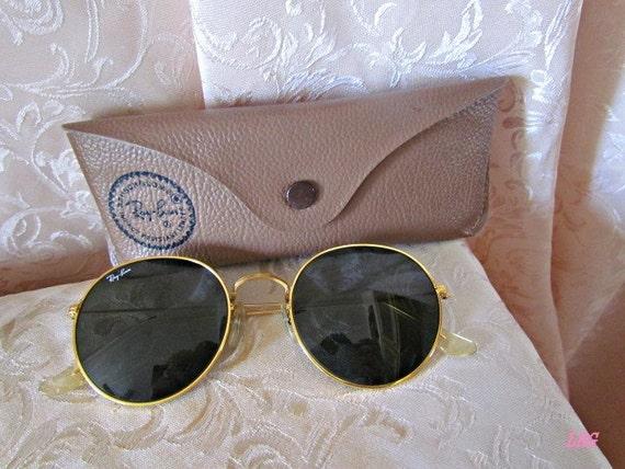 ray ban round metal 1980s vintage sunglasses  vintage ray ban round gold metal frame sunglasses 52021 b&l 52s john lennon best offer