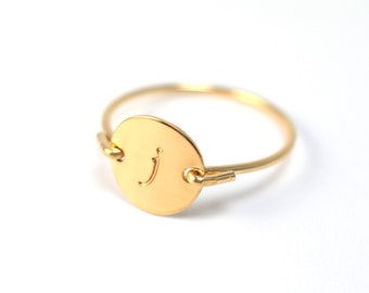 Personalized Custom Lower Case Initial Monogram Stamped Hammered Engraved Round Circle Disk Charm Signet Gold Ring Jewelry Christmas