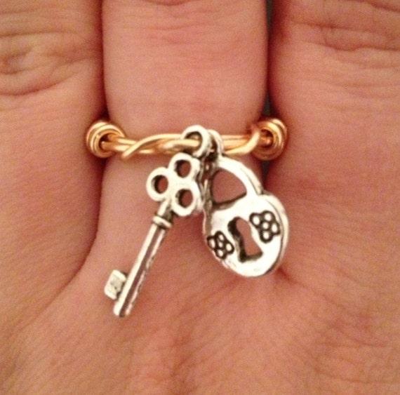 Items Similar To Lock And Key Ring On Etsy