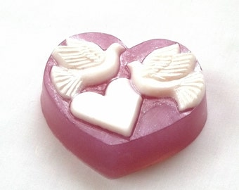 10 Dove Heart Wedding Soaps in Champagne fragrance by Lavish Handcrafted
