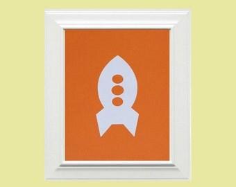 Custom Personalized Rocket Picture, Children's Wall Art, Kid's Wall Art, Nursery Wall Art, Rocket Wall Art-Orange, White
