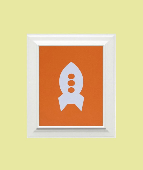 Custom Personalized Rocket Picture, Children's Wall Art, Kid's Wall Art, Nursery Wall Art, Rocket Wall Art-Orange, White
